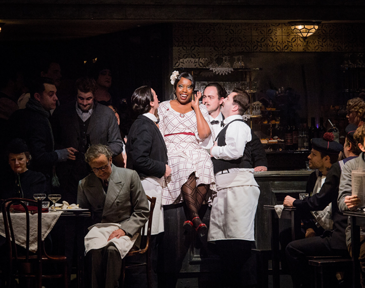 ENO La Bohème Nadine Benjamin and cast (c) Robert Workman